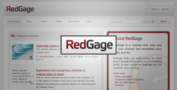 RedGage- Share Content and Earn