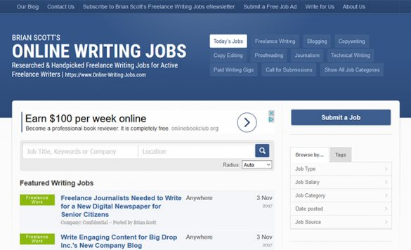 Online Writing Jobs Review – Make Money With Your Writing Skills