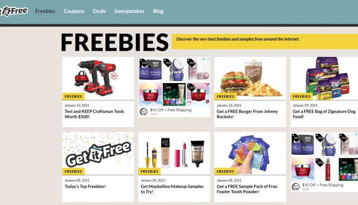 Get It Free is a money-saving site that claims to offer freebies, sweepstakes, coupons, and discounted products and services. But does it live up to its name? We dug into this site to learn the good, the bad, and the ugly, and whether it's a legitimate place to find ways to save.